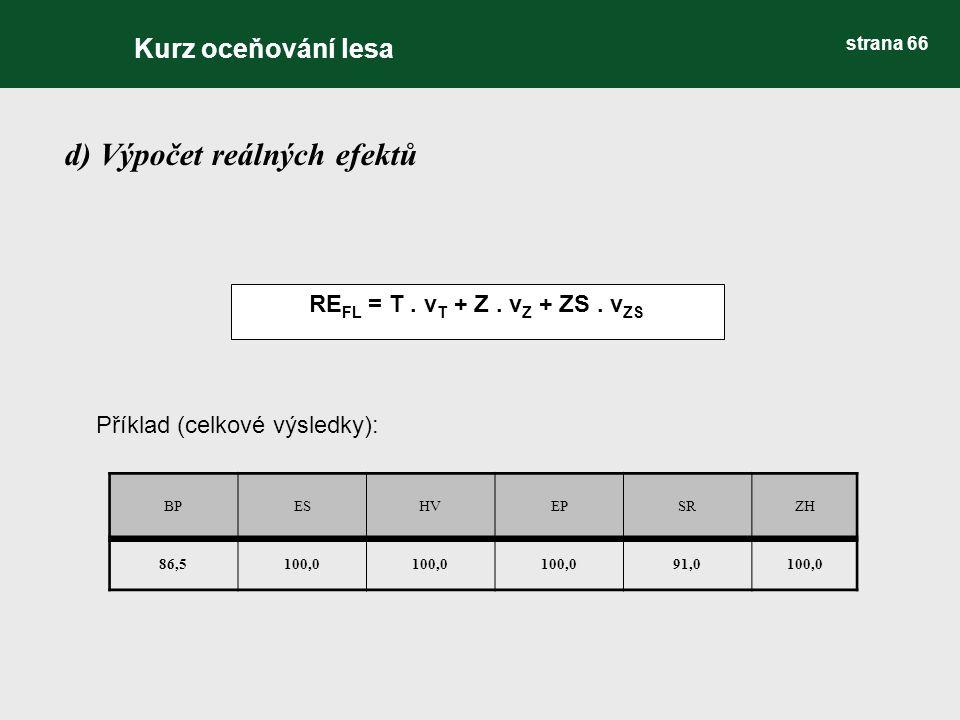 d) Výpočet reálných efektů RE FL = T. v T + Z. v Z + ZS. v ZS BPESHVEPSRZH 86,5100,0 91,0100,0 Příklad (celkové výsledky): Kurz oceňování lesa strana