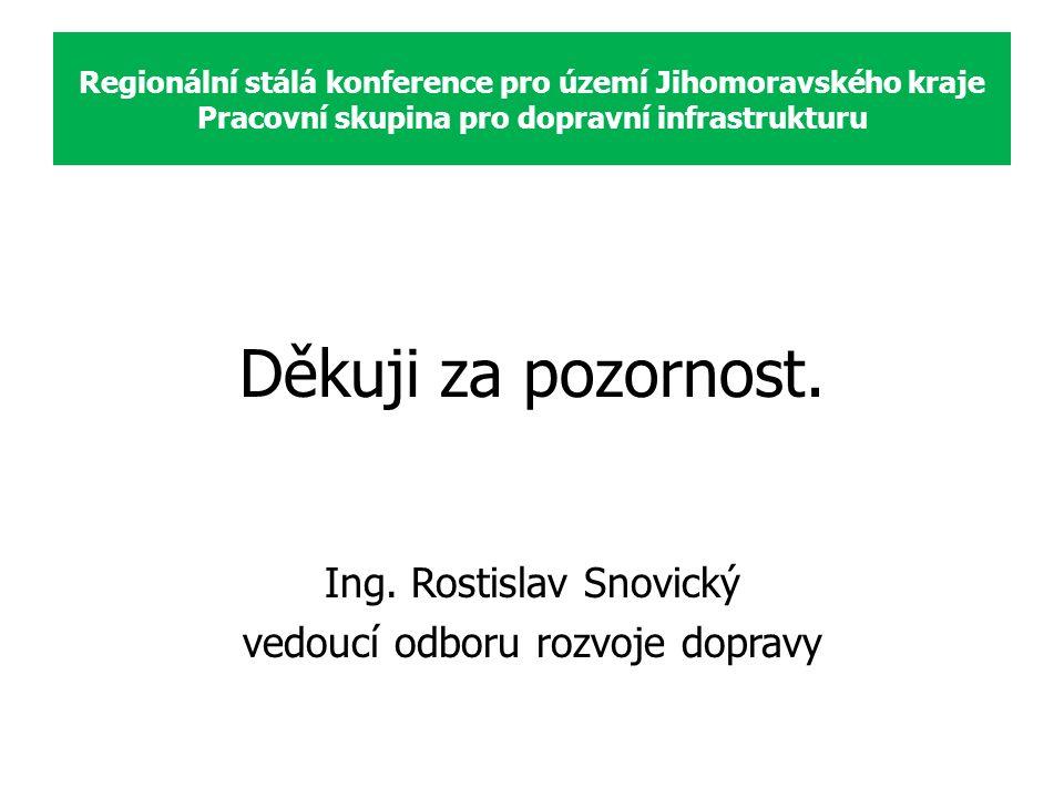 Děkuji za pozornost. Ing. Rostislav Snovický vedoucí odboru rozvoje dopravy Regionální stálá konference pro území Jihomoravského kraje Pracovní skupin