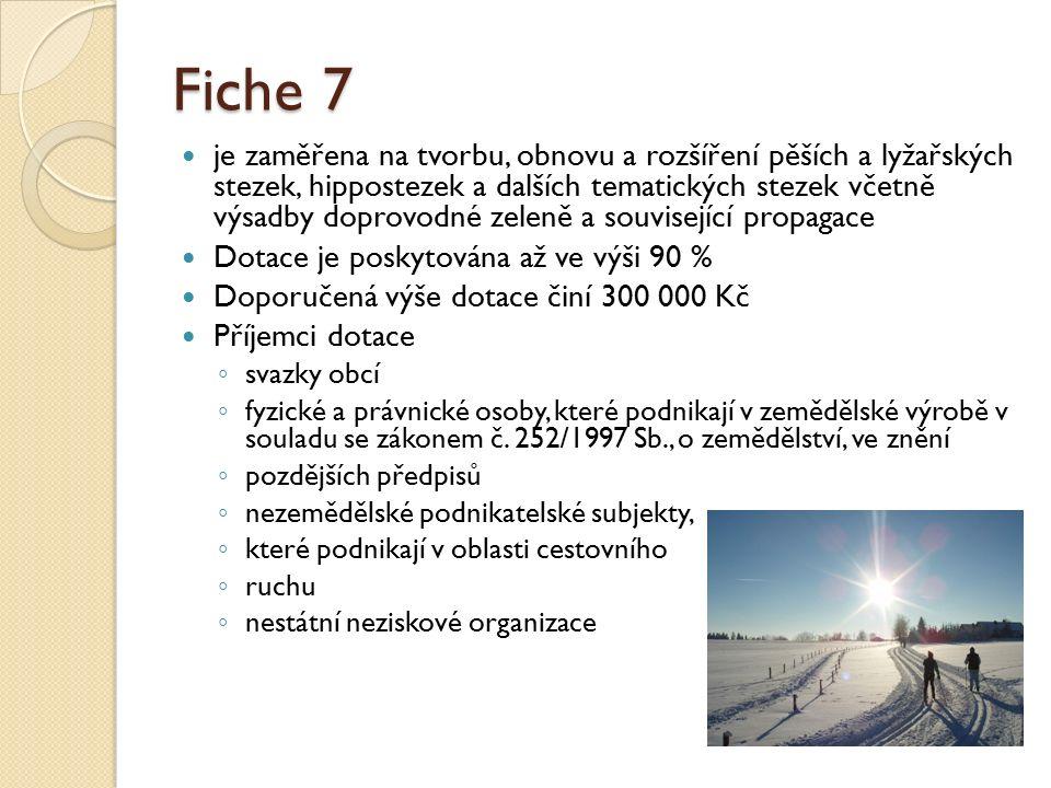 Fiche 7 je zaměřena na tvorbu, obnovu a rozšíření pěších a lyžařských stezek, hippostezek a dalších tematických stezek včetně výsadby doprovodné zelen