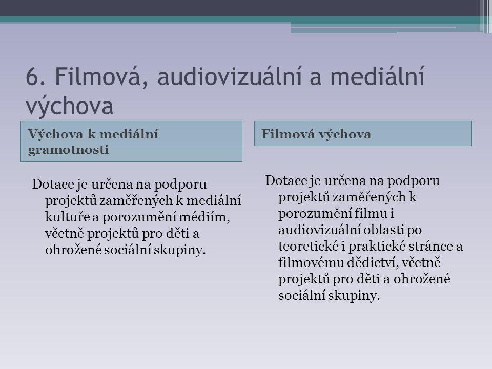 6. Filmová, audiovizuální a mediální výchova Výchova k mediální gramotnosti Filmová výchova Dotace je určena na podporu projektů zaměřených k mediální