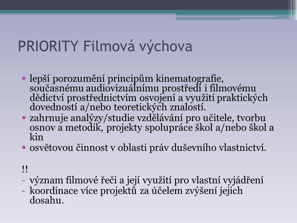 PRIORITY Filmová výchova  lepší porozumění principům kinematografie, současnému audiovizuálnímu prostředí i filmovému dědictví prostřednictvím osvojení a využití praktických dovedností a/nebo teoretických znalostí.