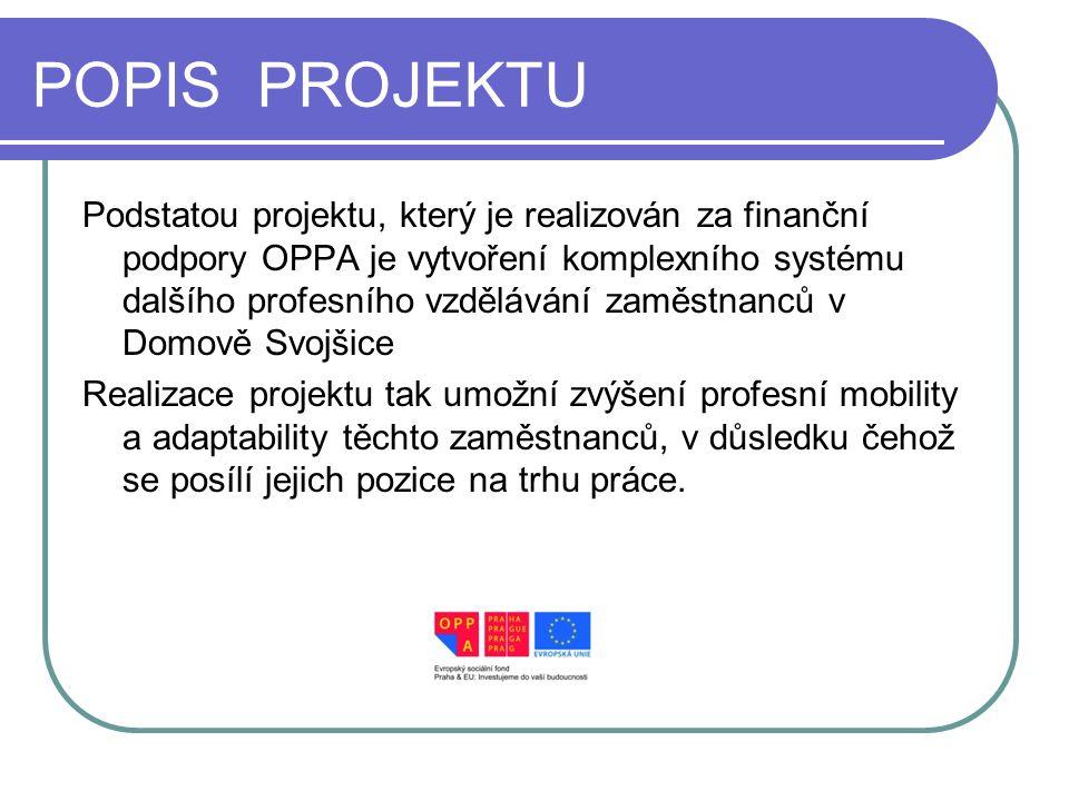 POPIS PROJEKTU Podstatou projektu, který je realizován za finanční podpory OPPA je vytvoření komplexního systému dalšího profesního vzdělávání zaměstn