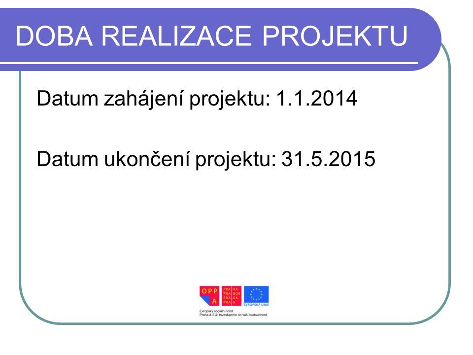DOBA REALIZACE PROJEKTU Datum zahájení projektu: 1.1.2014 Datum ukončení projektu: 31.5.2015