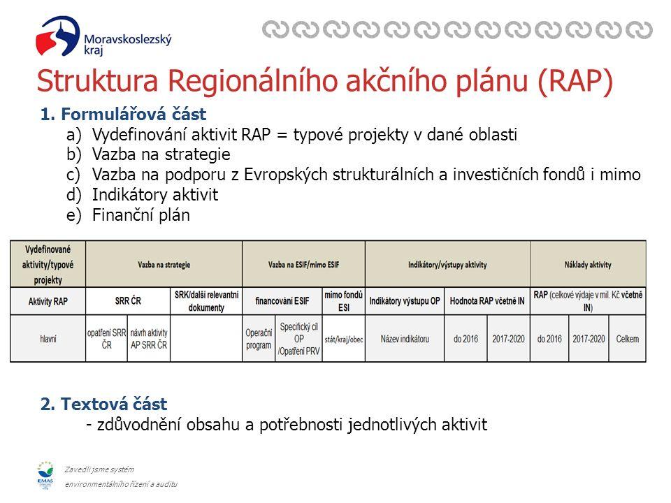 Zavedli jsme systém environmentálního řízení a auditu Struktura Regionálního akčního plánu (RAP) 2.