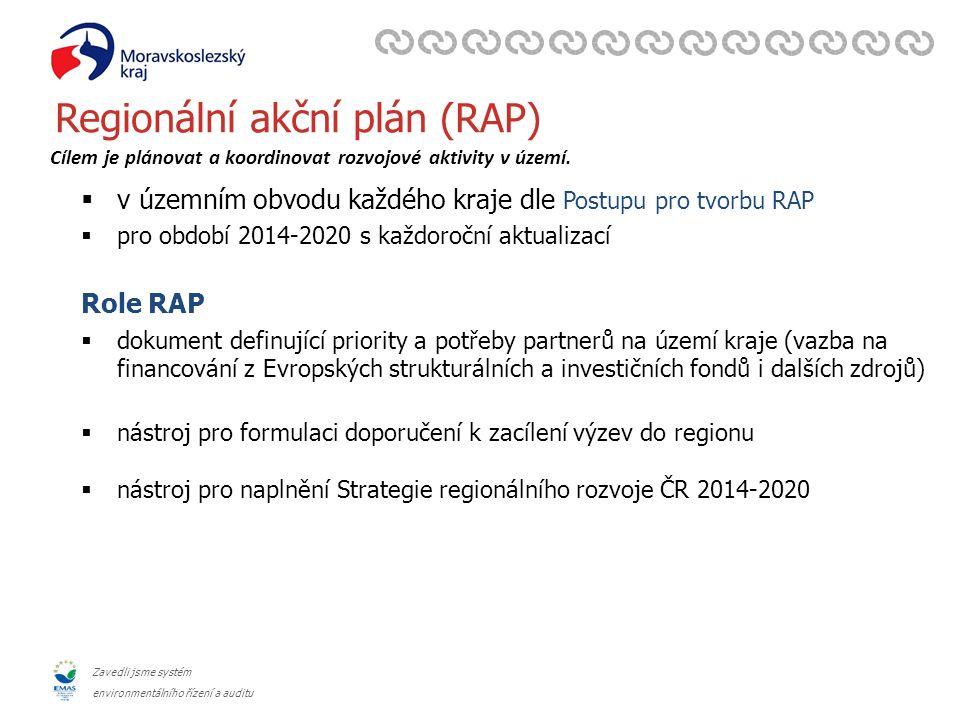 Zavedli jsme systém environmentálního řízení a auditu Regionální akční plán (RAP)  v územním obvodu každého kraje dle Postupu pro tvorbu RAP  pro období 2014-2020 s každoroční aktualizací Role RAP  dokument definující priority a potřeby partnerů na území kraje (vazba na financování z Evropských strukturálních a investičních fondů i dalších zdrojů)  nástroj pro formulaci doporučení k zacílení výzev do regionu  nástroj pro naplnění Strategie regionálního rozvoje ČR 2014-2020 Cílem je plánovat a koordinovat rozvojové aktivity v území.
