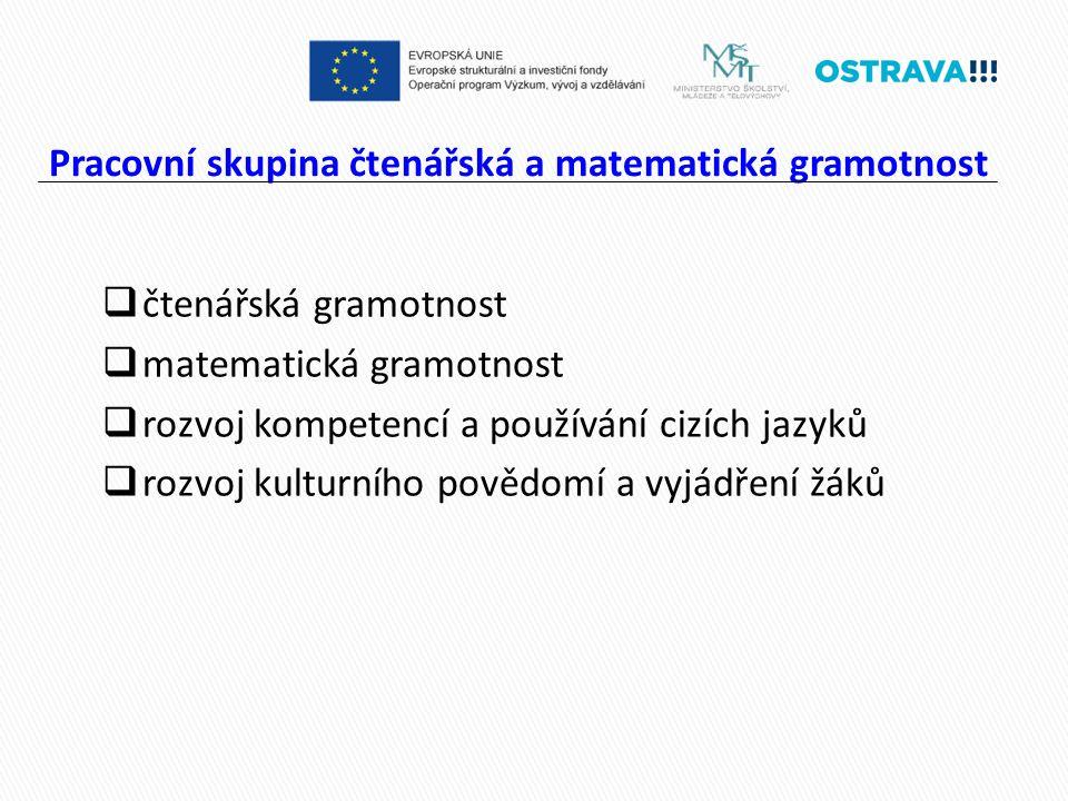 Pracovní skupina čtenářská a matematická gramotnost  čtenářská gramotnost  matematická gramotnost  rozvoj kompetencí a používání cizích jazyků  rozvoj kulturního povědomí a vyjádření žáků