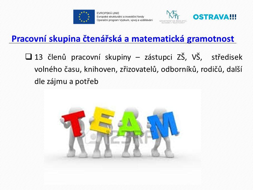 Pracovní skupina čtenářská a matematická gramotnost  13 členů pracovní skupiny – zástupci ZŠ, VŠ, středisek volného času, knihoven, zřizovatelů, odborníků, rodičů, další dle zájmu a potřeb