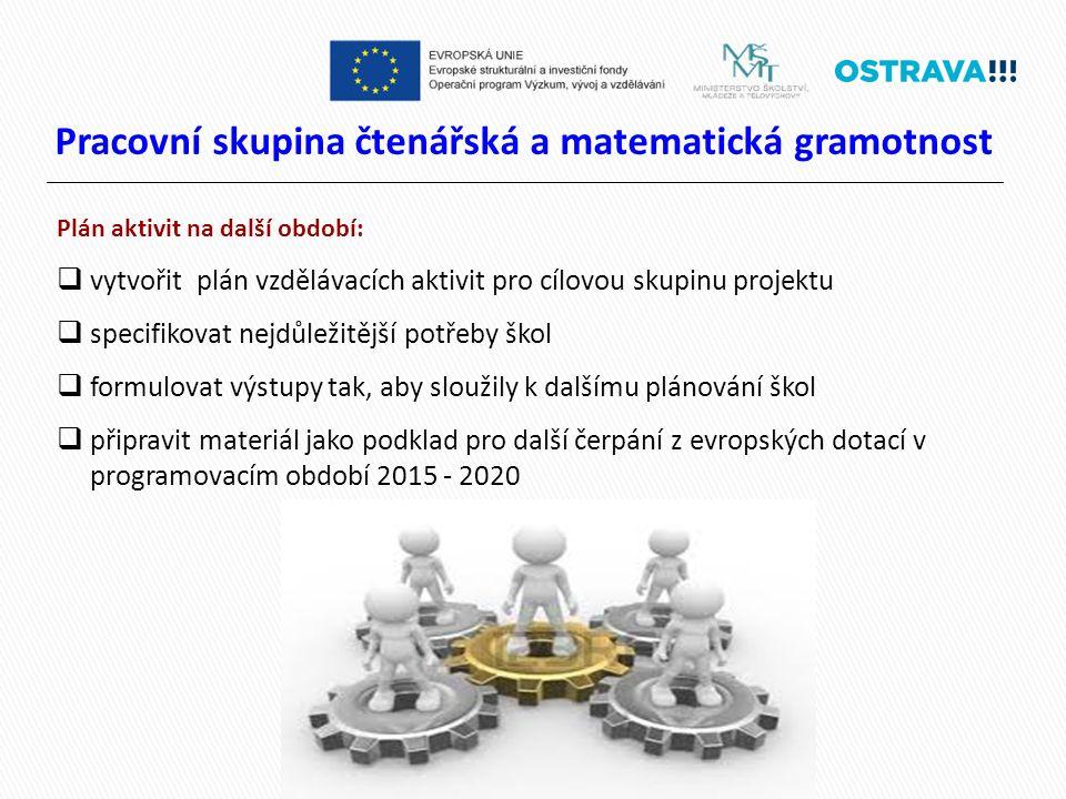 Pracovní skupina čtenářská a matematická gramotnost Plán aktivit na další období:  vytvořit plán vzdělávacích aktivit pro cílovou skupinu projektu  specifikovat nejdůležitější potřeby škol  formulovat výstupy tak, aby sloužily k dalšímu plánování škol  připravit materiál jako podklad pro další čerpání z evropských dotací v programovacím období 2015 - 2020