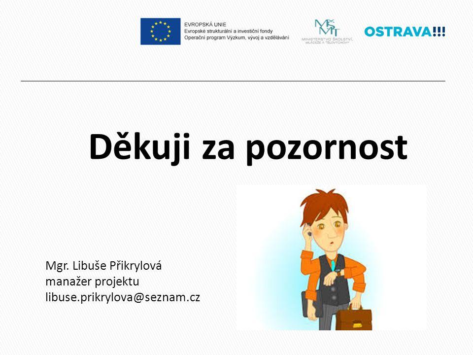 Děkuji za pozornost Mgr. Libuše Přikrylová manažer projektu libuse.prikrylova@seznam.cz