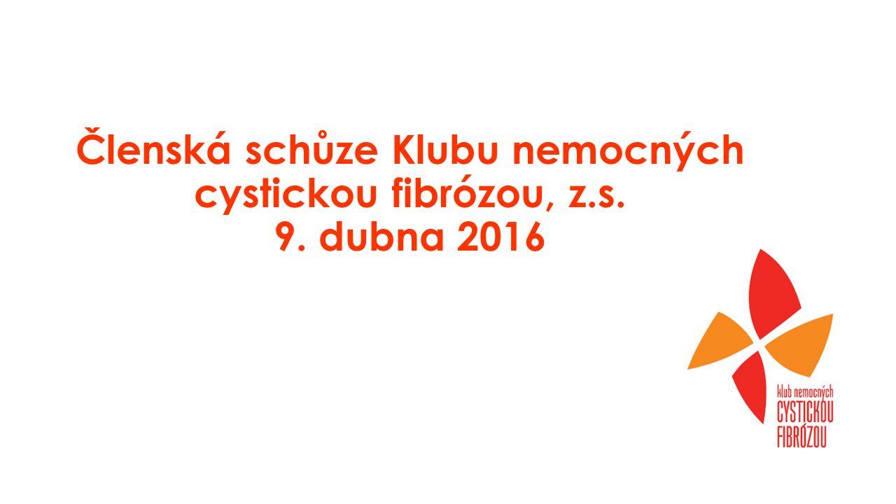 Program schůze 10.00 – 11.30 - zpráva o činnosti Klubu za rok 2015 -plán činnosti a rozpočet na rok 2016 -zpráva revizní komise 11.30 – 12.30 Kalydeco –současná situace se schvalováním a aktivity Klubu CF – M.