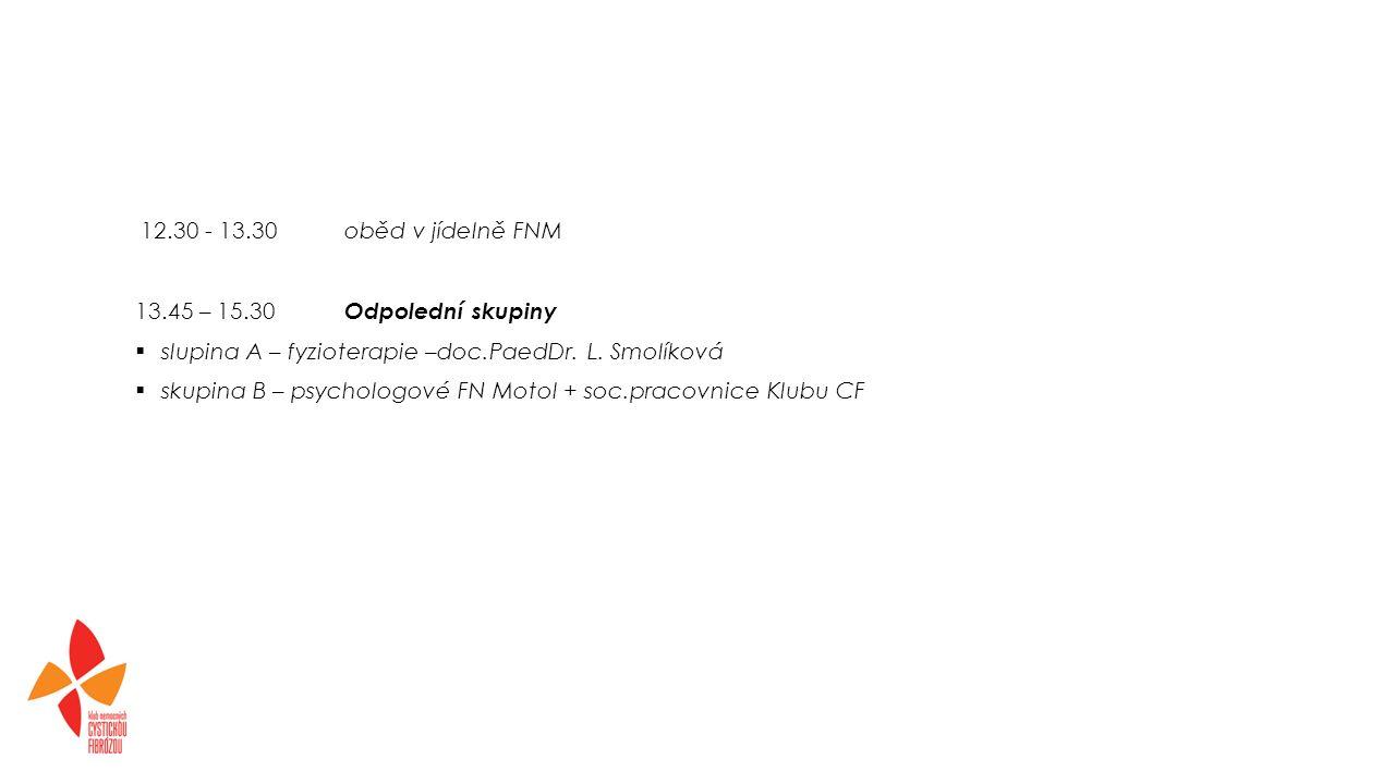 12.30 - 13.30oběd v jídelně FNM 13.45 – 15.30 Odpolední skupiny  slupina A – fyzioterapie –doc.PaedDr.