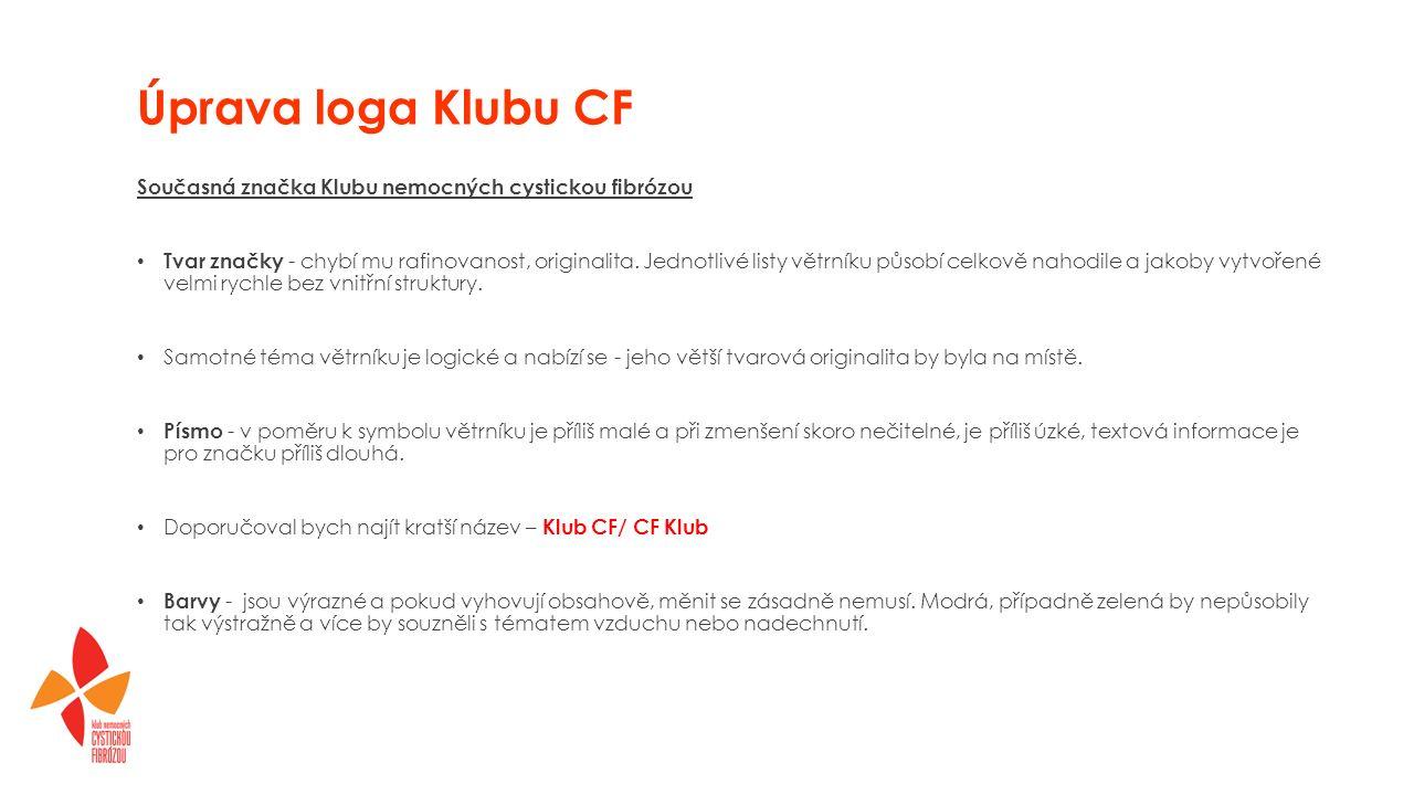 Úprava loga Klubu CF Současná značka Klubu nemocných cystickou fibrózou Tvar značky - chybí mu rafinovanost, originalita.