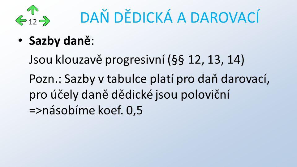 Sazby daně: Jsou klouzavě progresivní (§§ 12, 13, 14) Pozn.: Sazby v tabulce platí pro daň darovací, pro účely daně dědické jsou poloviční =>násobíme koef.