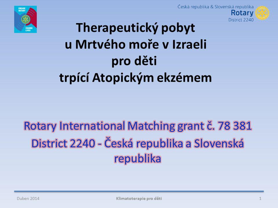 Therapeutický pobyt u Mrtvého moře v Izraeli pro děti trpící Atopickým ekzémem 1Klimatoterapie pro dětiDuben 2014