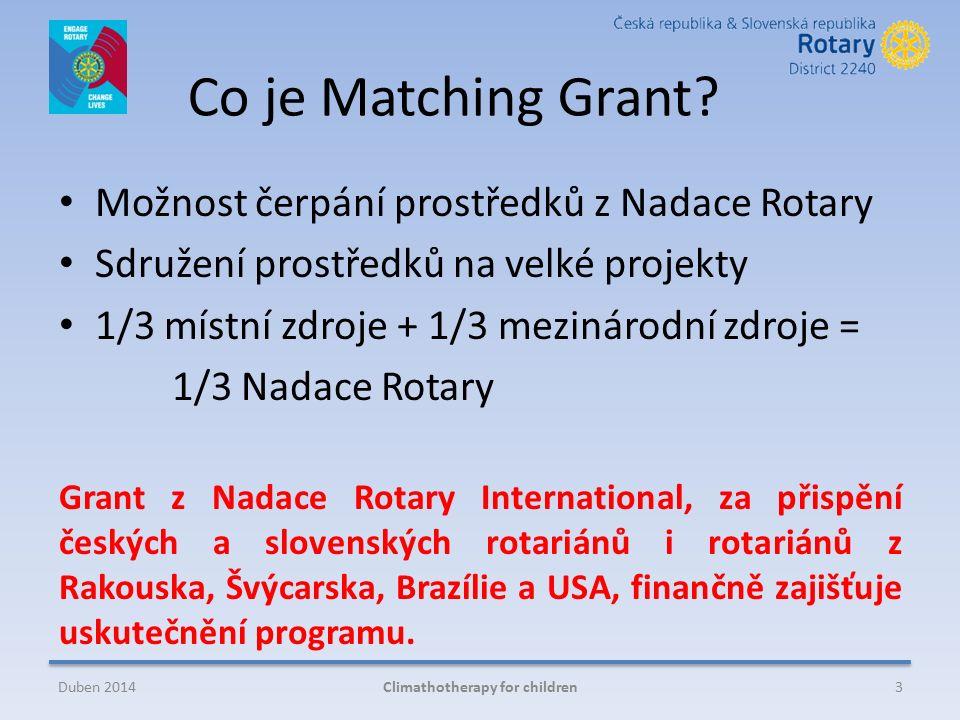 Co je Matching Grant? Možnost čerpání prostředků z Nadace Rotary Sdružení prostředků na velké projekty 1/3 místní zdroje + 1/3 mezinárodní zdroje = 1/