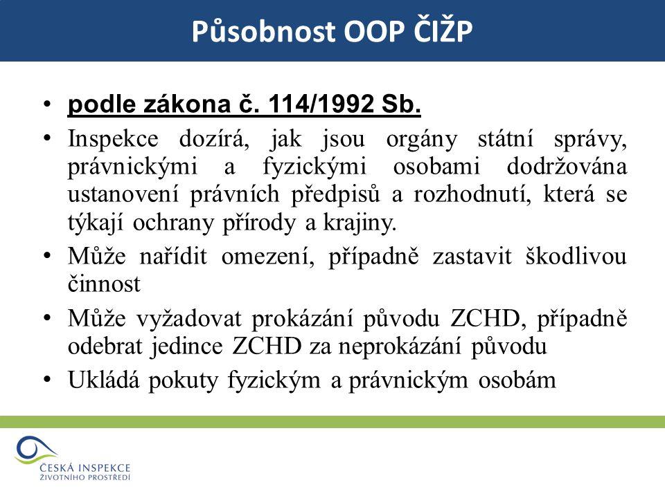 Působnost OOP ČIŽP podle zákona č. 114/1992 Sb.