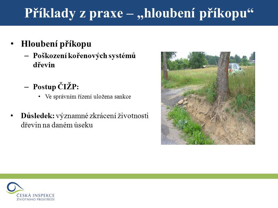 """Příklady z praxe – """"zásah do biotopu ZCHD Kácení dřevin, které jsou biotopem zvláště chráněných druhů (jednotlivé dřeviny nebo jejich skupiny) Např."""
