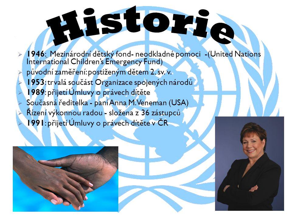  1946: Mezinárodní dětský fond- neodkladné pomoci -(United Nations International Children's Emergency Fund)  původní zaměření: postiženým dětem 2.