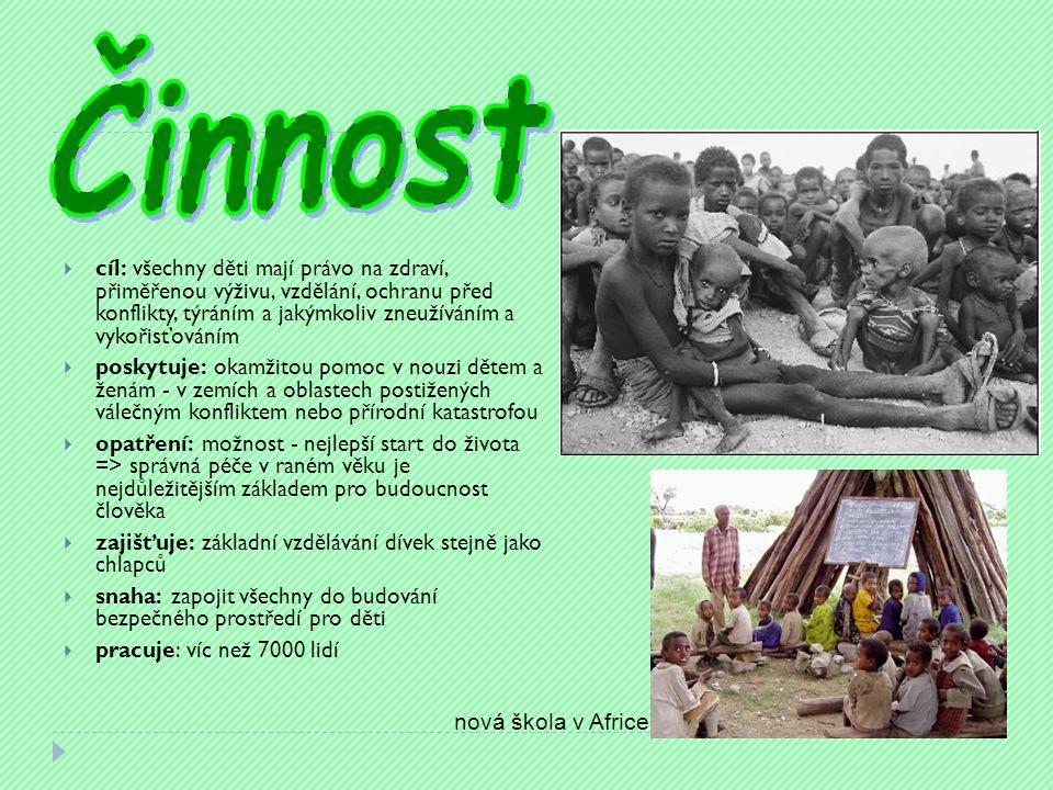  cíl: všechny děti mají právo na zdraví, přiměřenou výživu, vzdělání, ochranu před konflikty, týráním a jakýmkoliv zneužíváním a vykořisťováním  poskytuje: okamžitou pomoc v nouzi dětem a ženám - v zemích a oblastech postižených válečným konfliktem nebo přírodní katastrofou  opatření: možnost - nejlepší start do života => správná péče v raném věku je nejdůležitějším základem pro budoucnost člověka  zajišťuje: základní vzdělávání dívek stejně jako chlapců  snaha: zapojit všechny do budování bezpečného prostředí pro děti  pracuje: víc než 7000 lidí nová škola v Africe