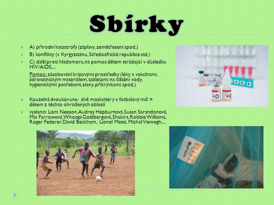  A) přírodní katastrofy (záplavy, zemětřesení apod,)  B) konflikty (v Kyrgyzstánu, Středoafrické republice atd,)  C) další:proti hladomoru, na pomoc dětem strádající v důsledku HIV/AIDS,...