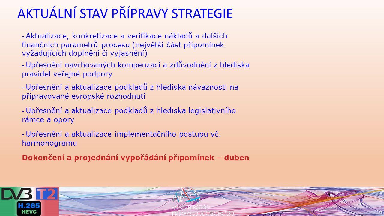 AKTUÁLNÍ STAV PŘÍPRAVY STRATEGIE - Aktualizace, konkretizace a verifikace nákladů a dalších finančních parametrů procesu (největší část připomínek vyžadujících doplnění či vyjasnění) - Upřesnění navrhovaných kompenzací a zdůvodnění z hlediska pravidel veřejné podpory - Upřesnění a aktualizace podkladů z hlediska legislativního rámce a opory - Upřesnění a aktualizace implementačního postupu vč.