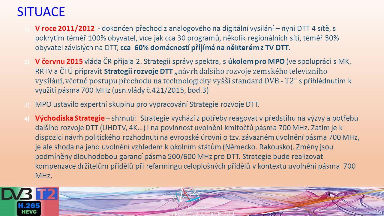 1) V roce 2011/2012 - dokončen přechod z analogového na digitální vysílání – nyní DTT 4 sítě, s pokrytím téměř 100% obyvatel, více jak cca 30 programů, několik regionálních sítí, téměř 50% obyvatel závislých na DTT, cca 60% domácností přijímá na některém z TV DTT.