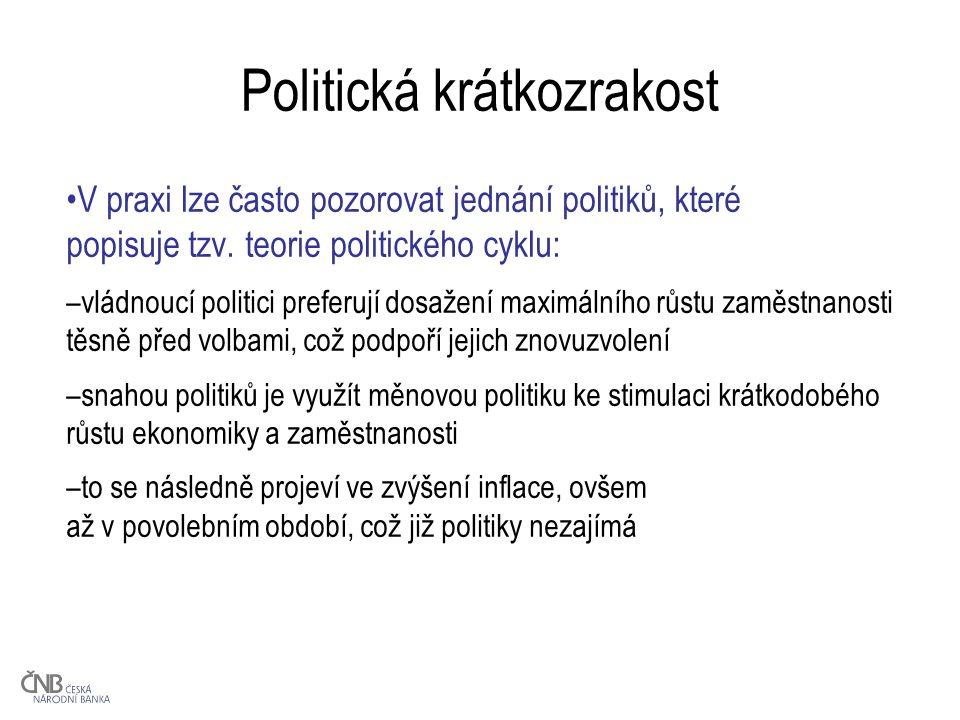 Politická krátkozrakost V praxi lze často pozorovat jednání politiků, které popisuje tzv.