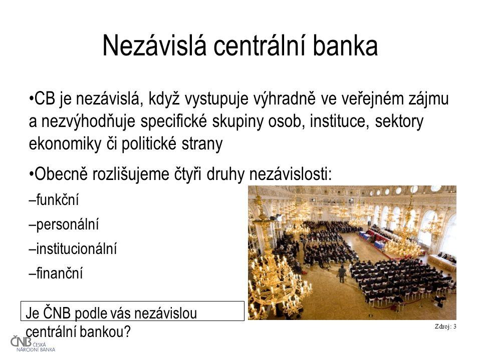Nezávislá centrální banka CB je nezávislá, když vystupuje výhradně ve veřejném zájmu a nezvýhodňuje specifické skupiny osob, instituce, sektory ekonomiky či politické strany Obecně rozlišujeme čtyři druhy nezávislosti: –funkční –personální –institucionální –finanční Je ČNB podle vás nezávislou centrální bankou.