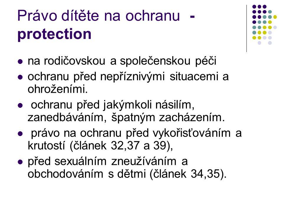 Právo dítěte na ochranu - protection na rodičovskou a společenskou péči ochranu před nepříznivými situacemi a ohroženími. ochranu před jakýmkoli násil