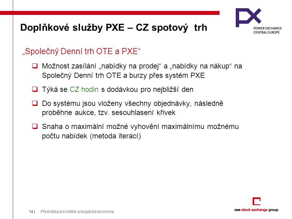 """Doplňkové služby PXE – CZ spotový trh """"Společný Denní trh OTE a PXE  Možnost zasílání """"nabídky na prodej a """"nabídky na nákup na Společný Denní trh OTE a burzy přes systém PXE  Týká se CZ hodin s dodávkou pro nejbližší den  Do systému jsou vloženy všechny objednávky, následně proběhne aukce, tzv."""