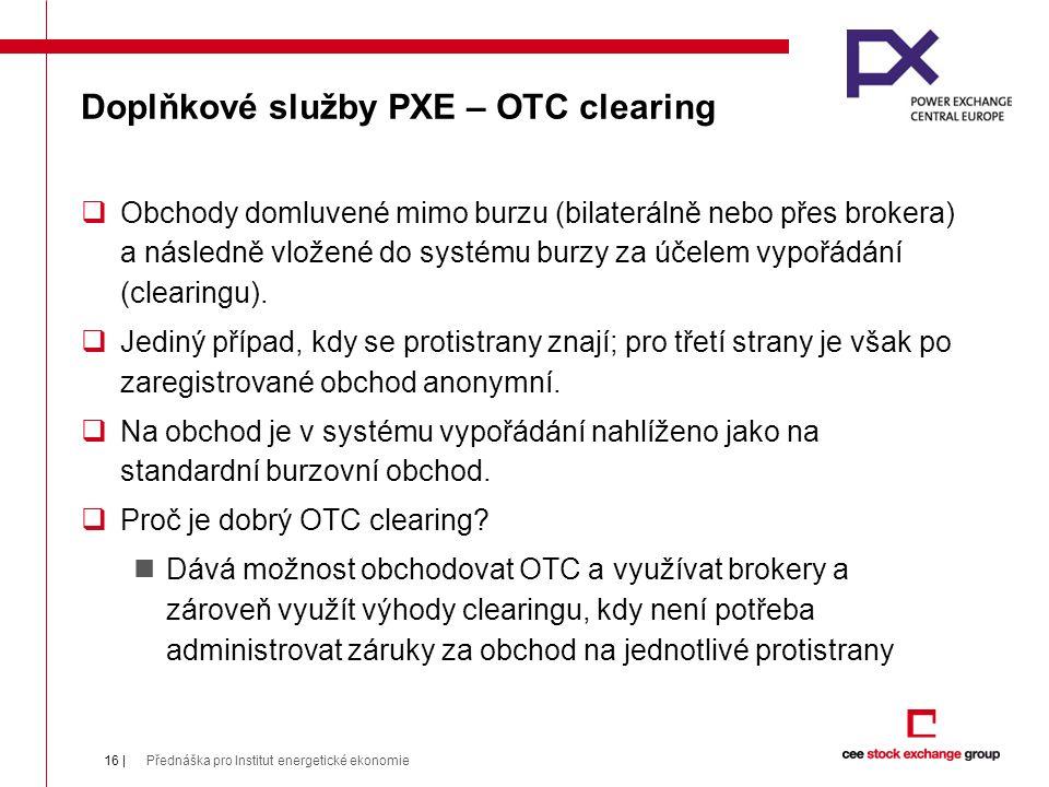 Doplňkové služby PXE – OTC clearing  Obchody domluvené mimo burzu (bilaterálně nebo přes brokera) a následně vložené do systému burzy za účelem vypořádání (clearingu).