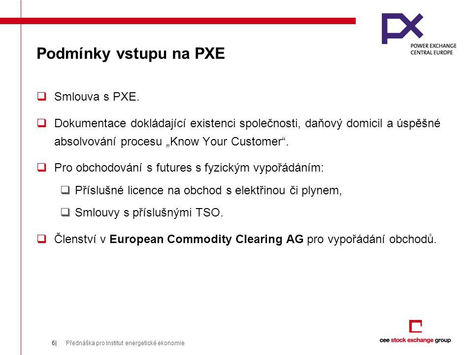 Podmínky vstupu na PXE  Smlouva s PXE.
