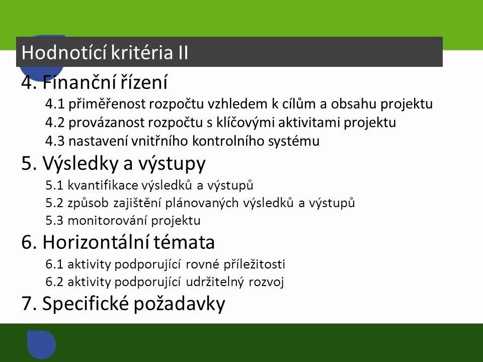 Hodnotící kritéria II 4.