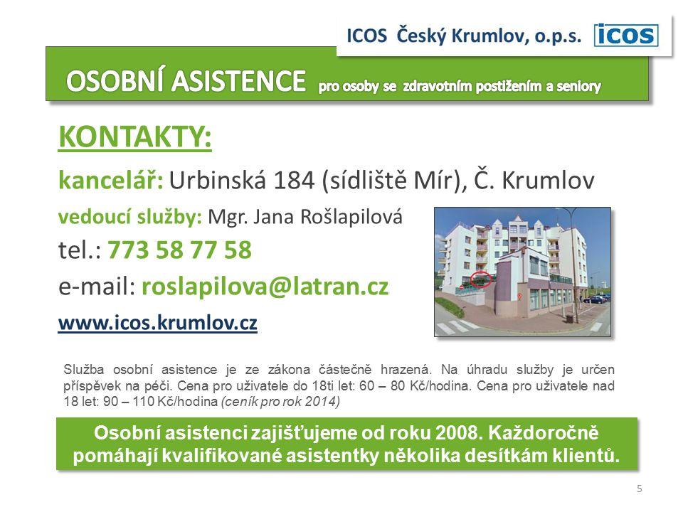 KONTAKTY: kancelář: Urbinská 184 (sídliště Mír), Č.