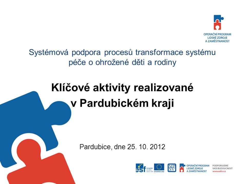 Systémová podpora procesů transformace systému péče o ohrožené děti a rodiny Klíčové aktivity realizované v Pardubickém kraji Pardubice, dne 25. 10. 2