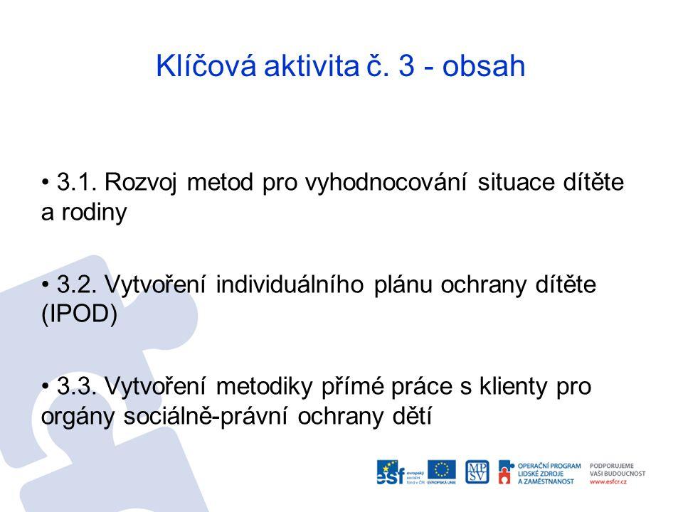 Klíčová aktivita č. 3 - obsah 3.1. Rozvoj metod pro vyhodnocování situace dítěte a rodiny 3.2. Vytvoření individuálního plánu ochrany dítěte (IPOD) 3.
