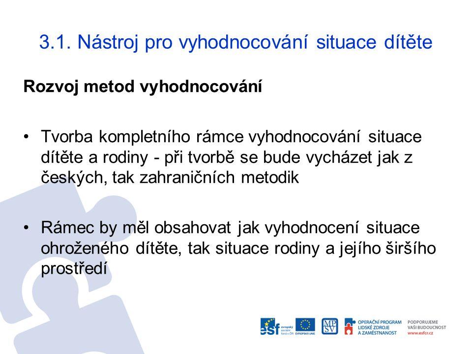 Rozvoj metod vyhodnocování Tvorba kompletního rámce vyhodnocování situace dítěte a rodiny - při tvorbě se bude vycházet jak z českých, tak zahraničníc