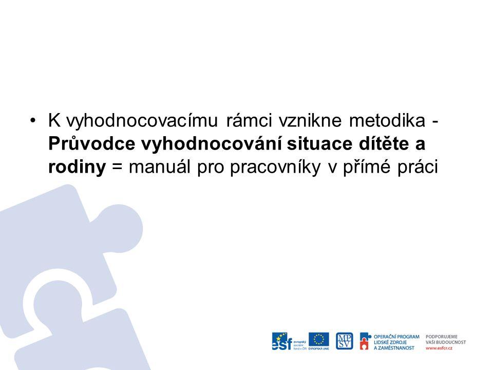 K vyhodnocovacímu rámci vznikne metodika - Průvodce vyhodnocování situace dítěte a rodiny = manuál pro pracovníky v přímé práci