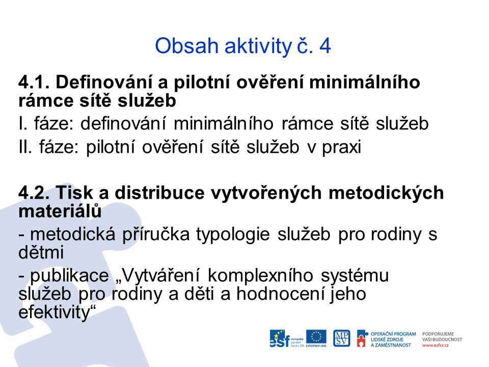 Obsah aktivity č. 4 4.1. Definování a pilotní ověření minimálního rámce sítě služeb I. fáze: definování minimálního rámce sítě služeb II. fáze: pilotn