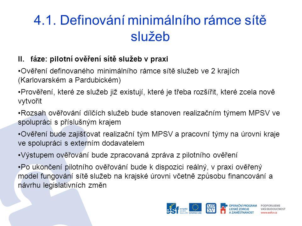 4.1. Definování minimálního rámce sítě služeb II.