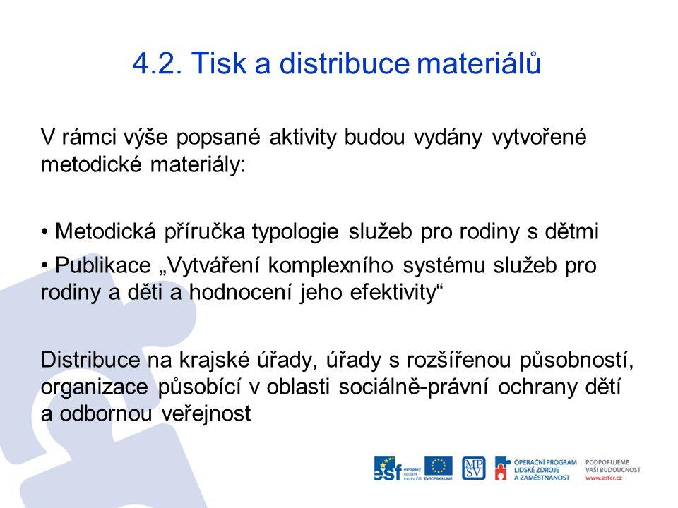 4.2. Tisk a distribuce materiálů V rámci výše popsané aktivity budou vydány vytvořené metodické materiály: Metodická příručka typologie služeb pro rod