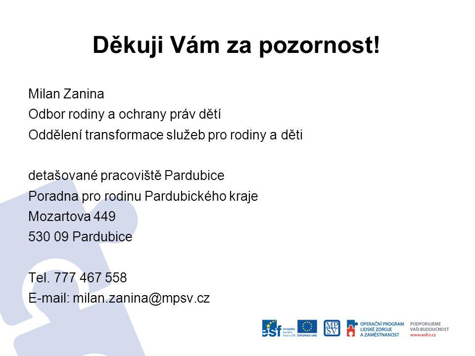 Děkuji Vám za pozornost! Milan Zanina Odbor rodiny a ochrany práv dětí Oddělení transformace služeb pro rodiny a děti detašované pracoviště Pardubice