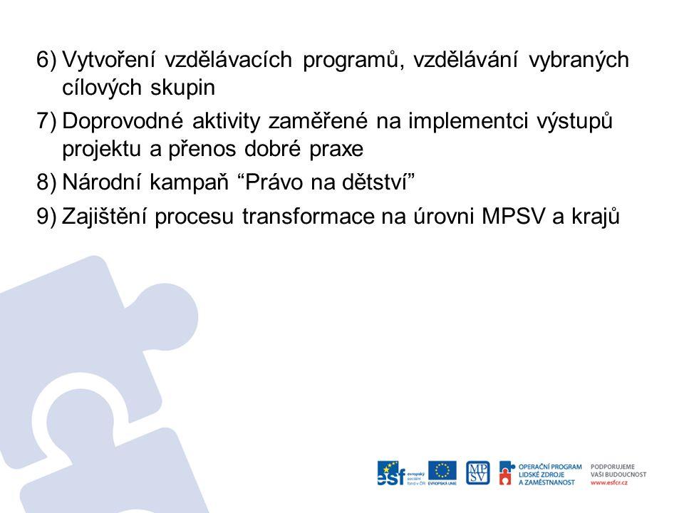 6) Vytvoření vzdělávacích programů, vzdělávání vybraných cílových skupin 7) Doprovodné aktivity zaměřené na implementci výstupů projektu a přenos dobré praxe 8) Národní kampaň Právo na dětství 9) Zajištění procesu transformace na úrovni MPSV a krajů