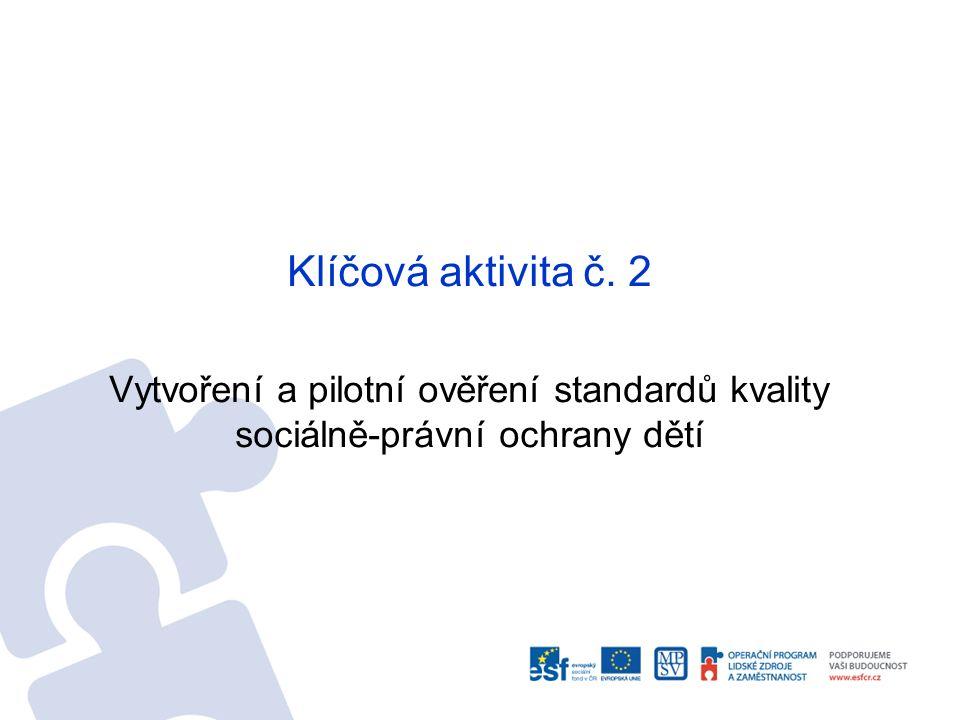 Klíčová aktivita č. 2 Vytvoření a pilotní ověření standardů kvality sociálně-právní ochrany dětí