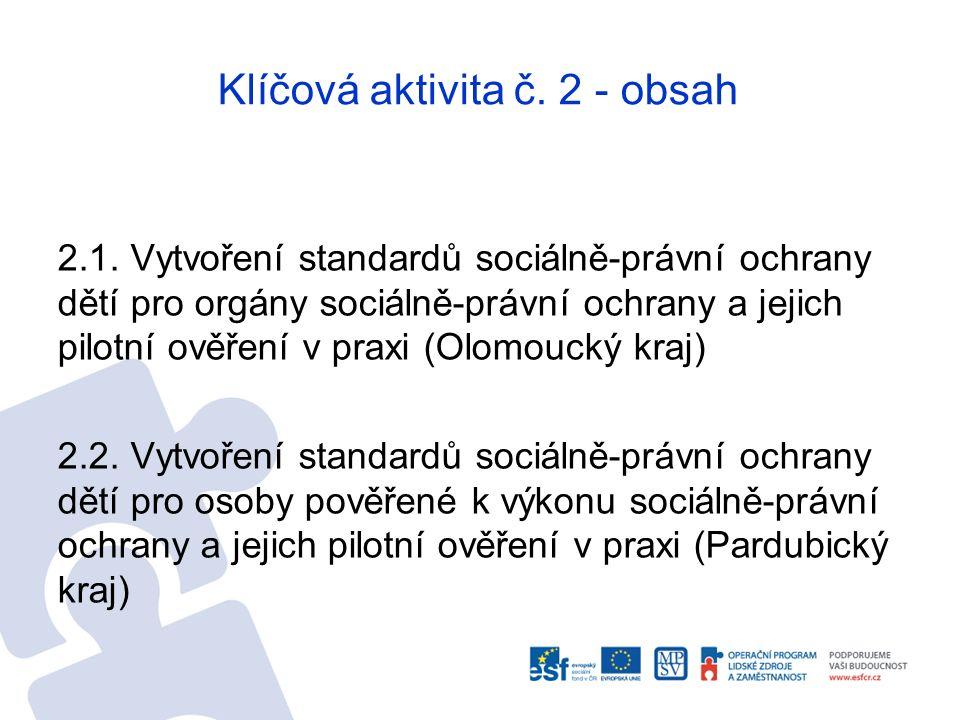 Klíčová aktivita č. 2 - obsah 2.1. Vytvoření standardů sociálně-právní ochrany dětí pro orgány sociálně-právní ochrany a jejich pilotní ověření v prax
