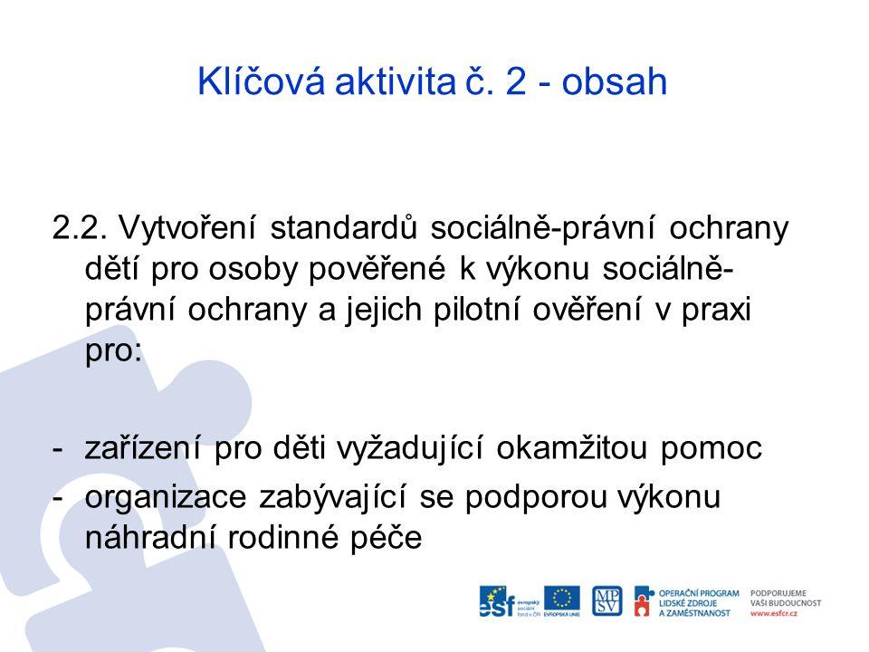 Klíčová aktivita č. 2 - obsah 2.2. Vytvoření standardů sociálně-právní ochrany dětí pro osoby pověřené k výkonu sociálně- právní ochrany a jejich pilo