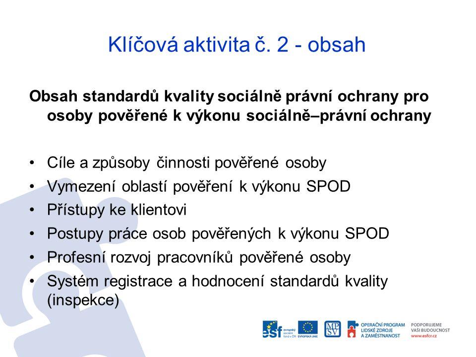 Klíčová aktivita č. 2 - obsah Obsah standardů kvality sociálně právní ochrany pro osoby pověřené k výkonu sociálně–právní ochrany Cíle a způsoby činno