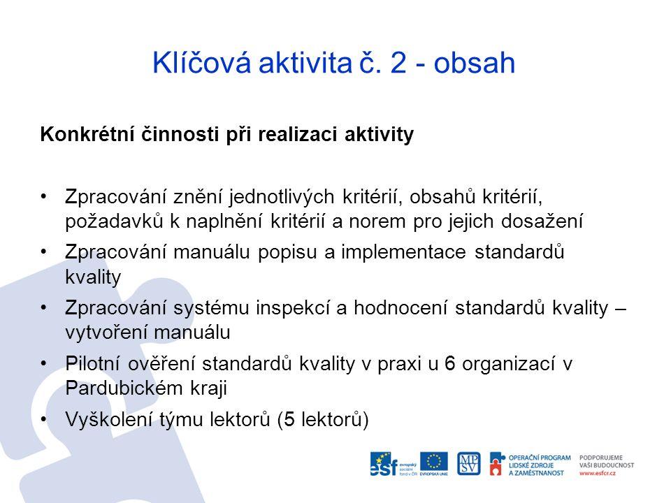 Klíčová aktivita č. 2 - obsah Konkrétní činnosti při realizaci aktivity Zpracování znění jednotlivých kritérií, obsahů kritérií, požadavků k naplnění