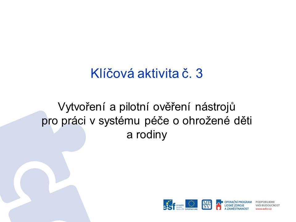 Klíčová aktivita č. 3 Vytvoření a pilotní ověření nástrojů pro práci v systému péče o ohrožené děti a rodiny