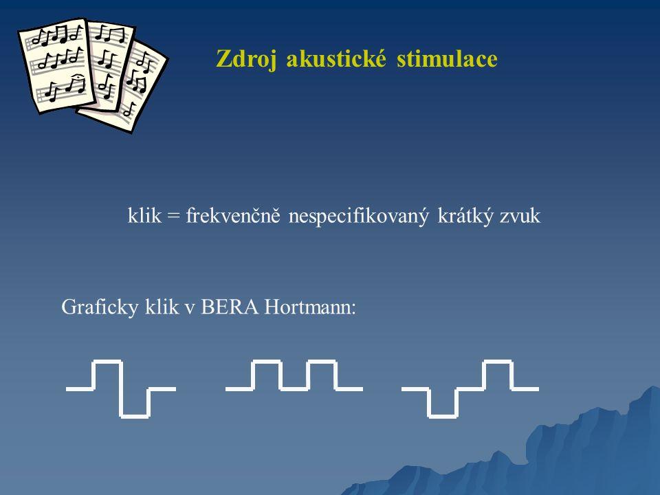 Zdroj akustické stimulace klik = frekvenčně nespecifikovaný krátký zvuk Graficky klik v BERA Hortmann: